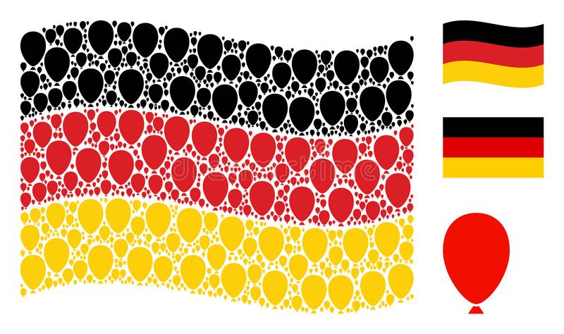 Waving German Flag Collage of Celebration Balloon Icons. Waving German state flag. Vector celebration balloon elements are formed into conceptual Germany flag royalty free illustration