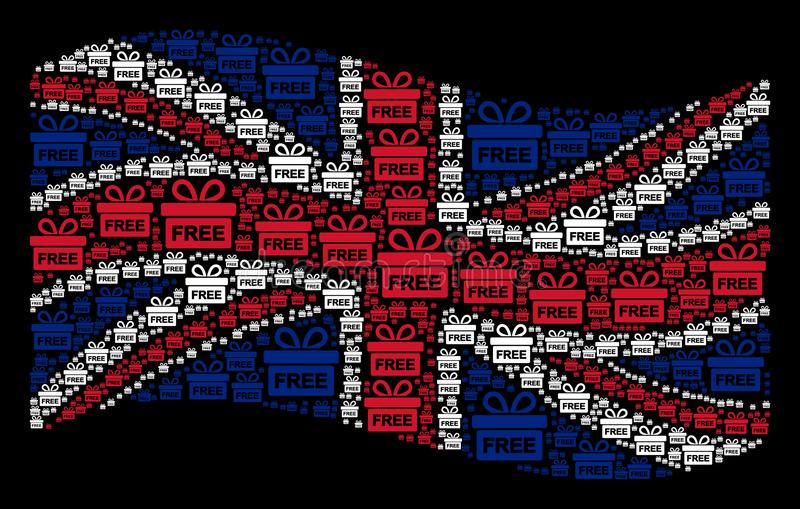 Waving British Flag Collage of Free Gift Items royalty free illustration