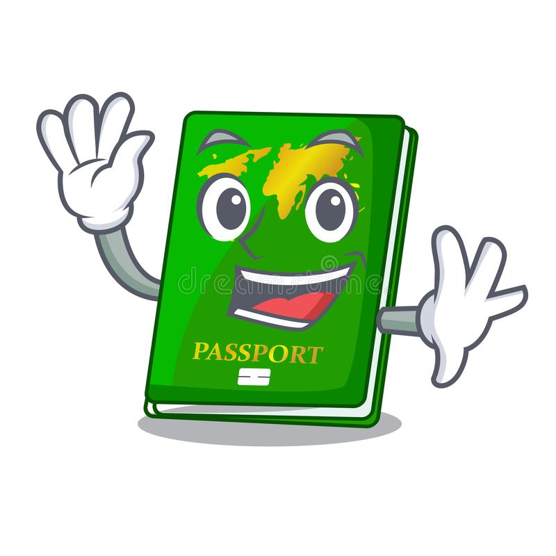 Waving green passport in the cartoon shape. Vector illustration stock illustration