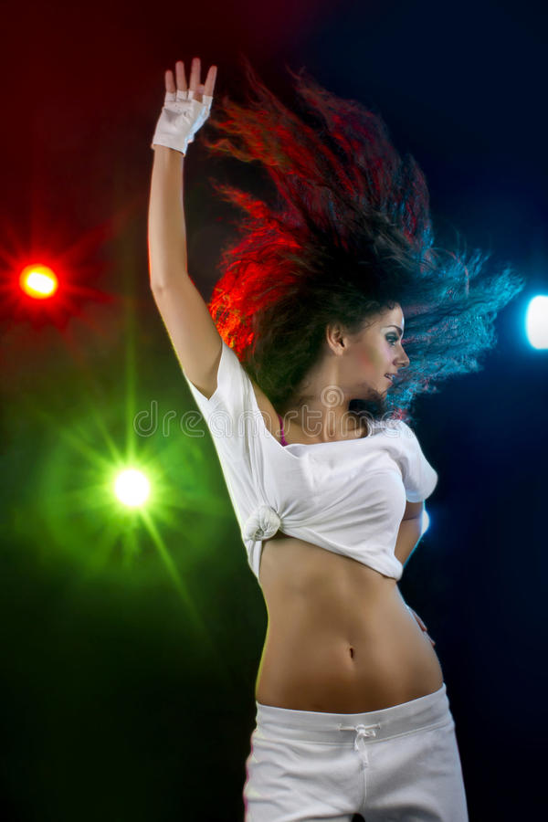 Waving hair disco dancer stock photo