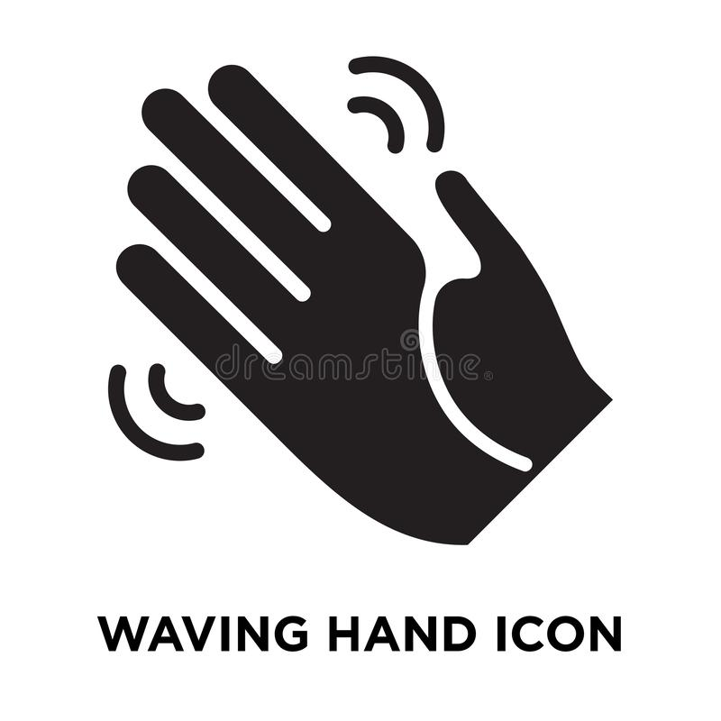 Waving hand icon vector isolated on white background, logo concept of Waving hand sign on transparent background, black filled. Waving hand icon vector isolated vector illustration