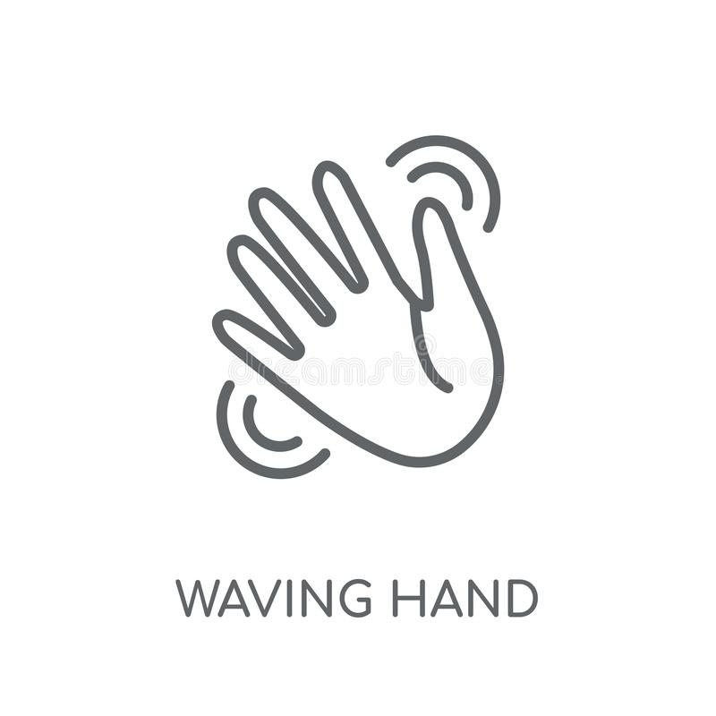 Waving hand linear icon. Modern outline Waving hand logo concept. On white background from Hands collection. Suitable for use on web apps, mobile apps and print vector illustration