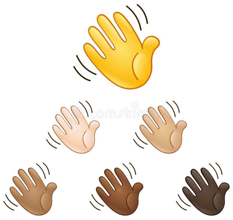 Waving hand sign emoji royalty free illustration