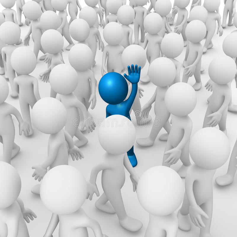 Waving inside a crowd. Computer generated image of an anonymous man waving inside a crowd vector illustration
