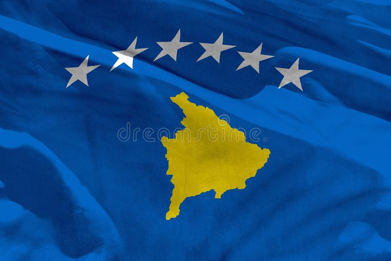 Waving Kosovo flag for using as texture or background, the flag is fluttering on the wind vector illustration
