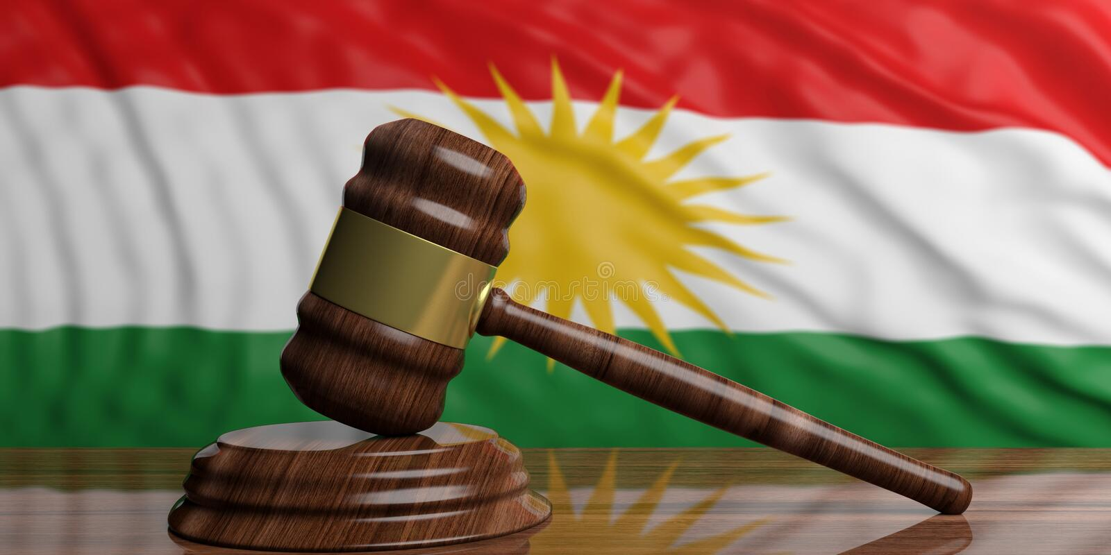 The waving Kurdistan flag behind wooden and gold auction or justice gavel. 3d illustration royalty free illustration