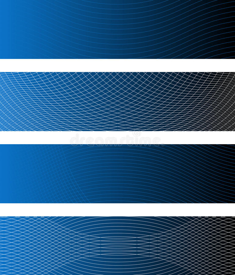 Waving Lines Banners. Four Waving Lines Banners (all stroke widths are editable vector illustration