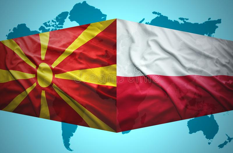 Waving Macedonian and Polish flags. Of the political map of the world royalty free illustration