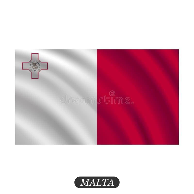 Waving Malta flag on a white background. Vector illustration vector illustration