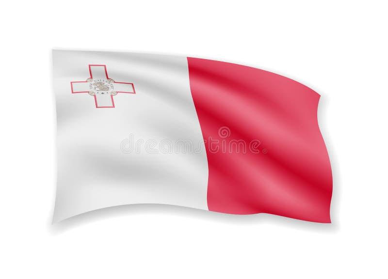 Waving Malta flag on white. Flag in the wind vector illustration