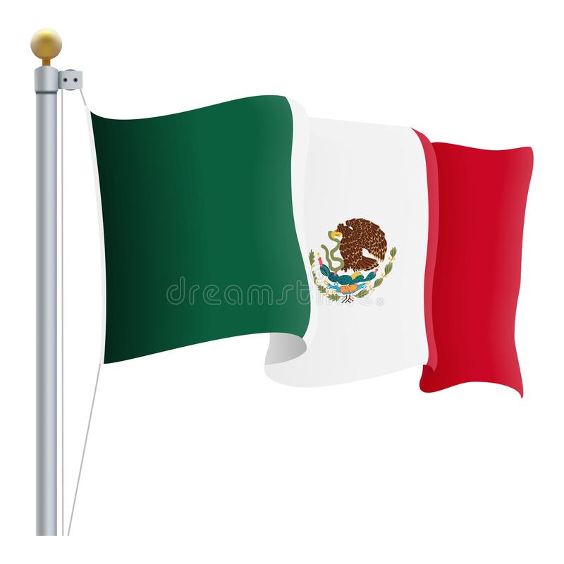 waving mexico flag isolated on a white background vector rh dreamstime com  waving american flag vector free