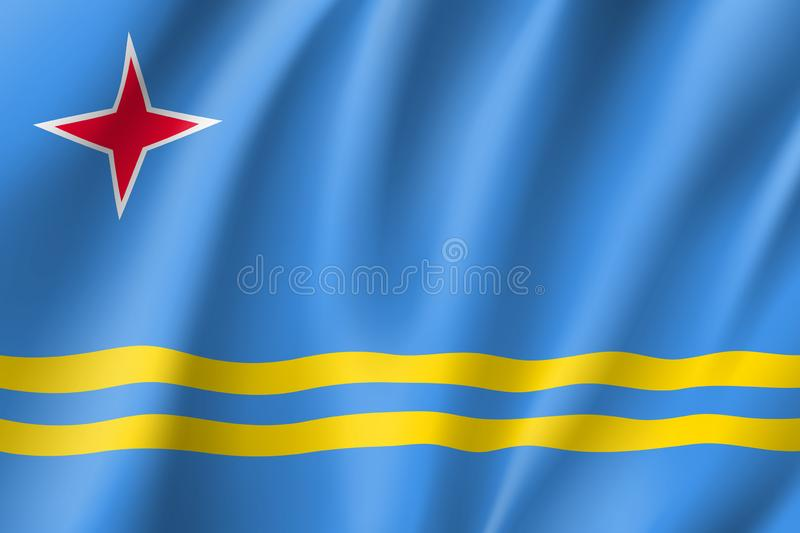National flag of Aruba island in Caribbean sea. Waving national flag of Aruba island in Caribbean sea. Patriotic symbol in official country colors. Illustration stock illustration
