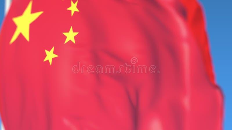 Waving national flag of China close-up, 3D rendering. Waving national flag close-up, 3D vector illustration
