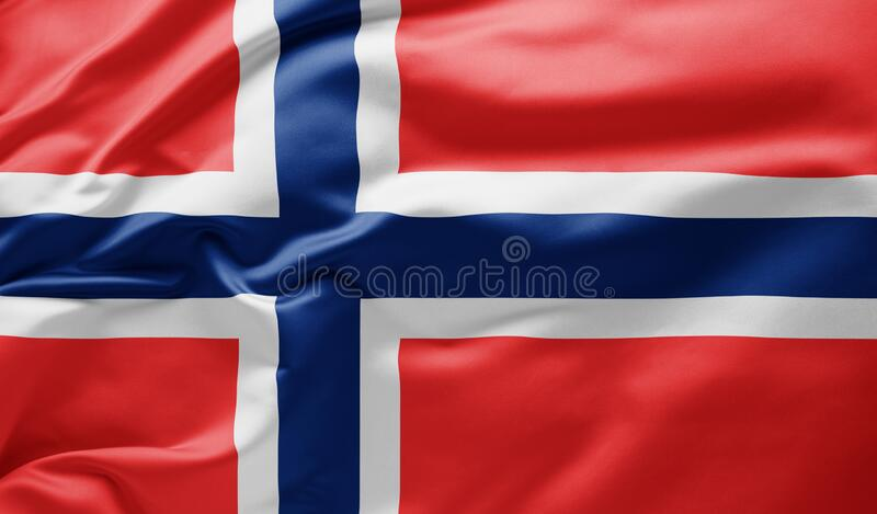 Waving national flag of Norway stock photo