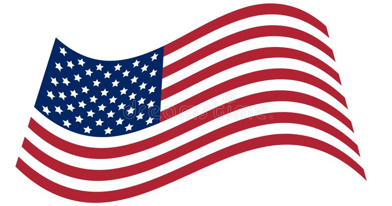 Waving national flag of United States of America isolated on white background. Official colors and proportion of flag of USA.Vecto vector illustration