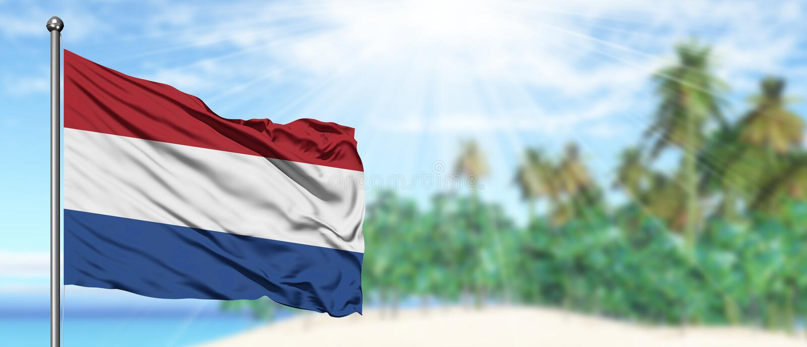 Waving Netherlands flag in the sunny blue sky with summer beach background. Vacation theme, holiday concept stock photos