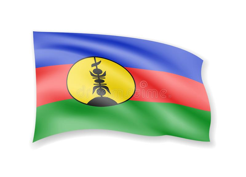Waving New Caledonia flag on white. Flag in the wind royalty free illustration