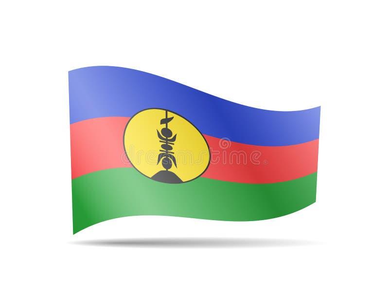 Waving New Caledonia flag in the wind. Flag on white vector illustration stock illustration