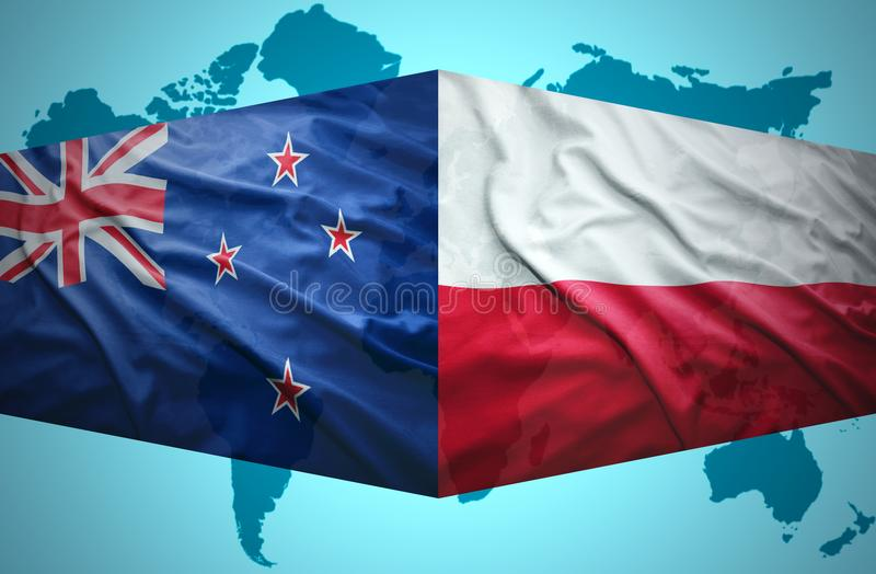 Waving New Zealand and Polish flags. Of the political map of the world stock illustration