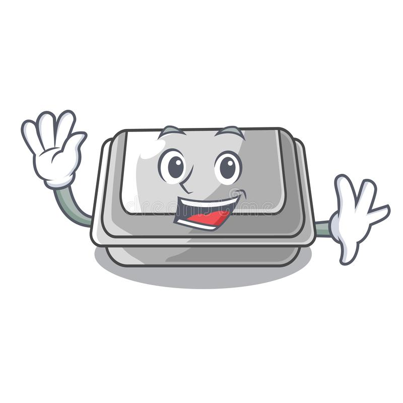 Waving plastic box in the mascot shape. Vector illustration royalty free illustration