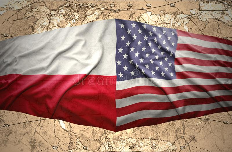 Poland and USA. Waving Polish and American flags of the political map of the world stock illustration