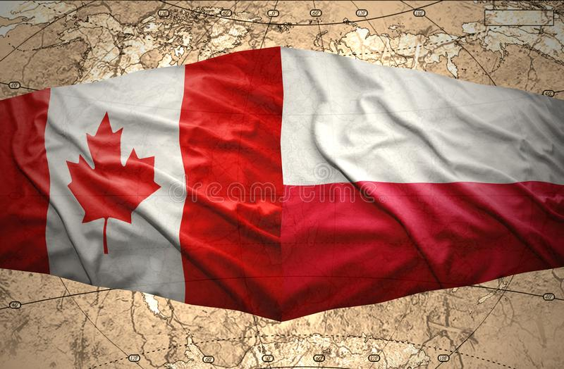 Poland and Canada. Waving Polish and Canadian flags of the political map of the world vector illustration
