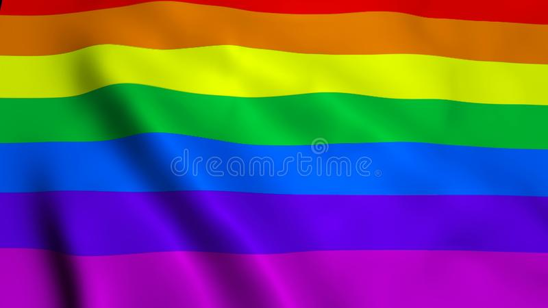 Waving rainbow gay rainbow flag on wind, 3d rendering backdrop, computer generated stock photography
