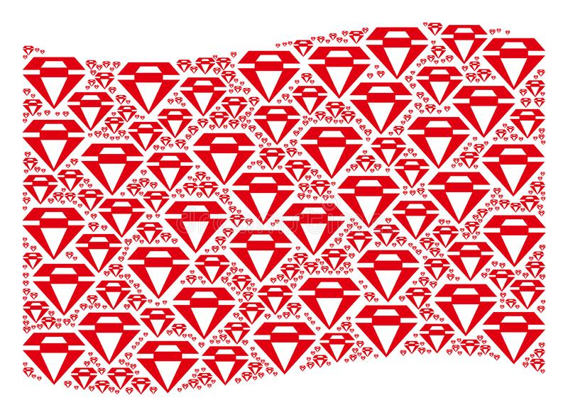 Waving Red Flag Pattern of Diamond Items. Waving red flag collage. Vector diamond pictograms are formed into conceptual red waving flag collage. Patriotic vector illustration