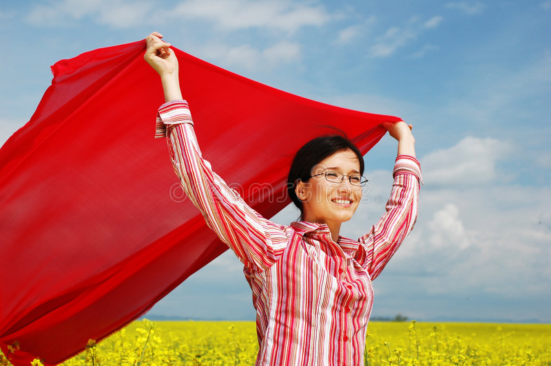 Waving red scarf royalty free stock image