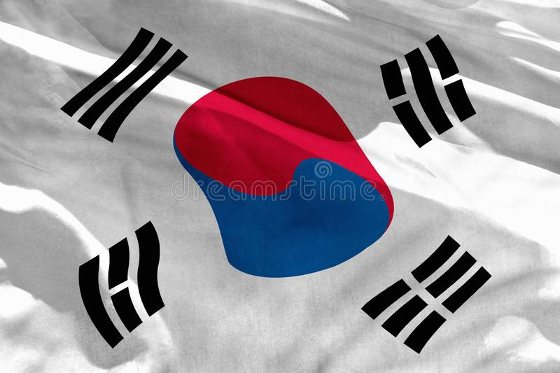 Waving Republic of Korea South Korea flag for using as texture or background, the flag is fluttering on the wind stock image