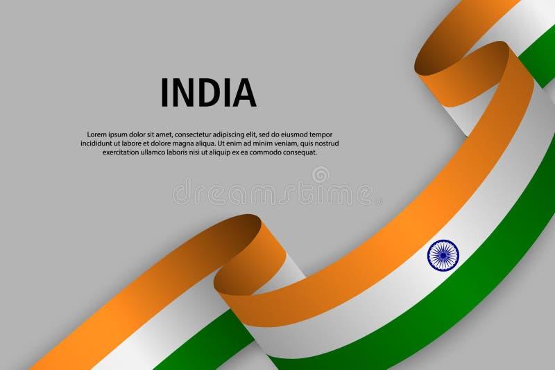 Waving ribbon with Flag of India, royalty free illustration