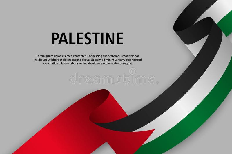 Waving ribbon with Flag of Palestine, vector illustration