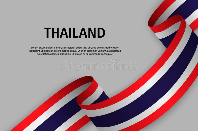 Waving ribbon with Flag of Thailand stock illustration
