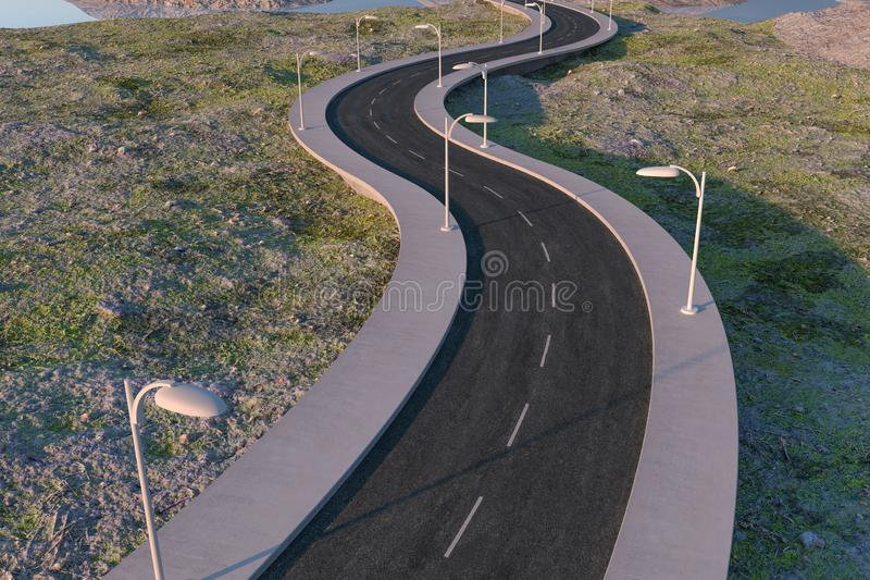 The waving road in the deserted suburbs, 3d rendering royalty free illustration
