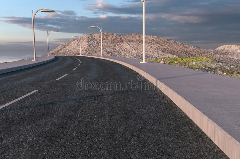 The waving road in the deserted suburbs, 3d rendering stock illustration