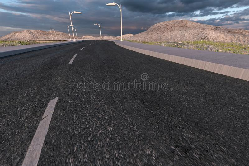 The waving road in the deserted suburbs, 3d rendering vector illustration