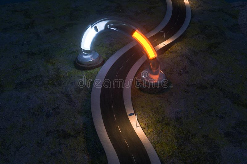 The waving road and the round magic entrance, 3d rendering vector illustration