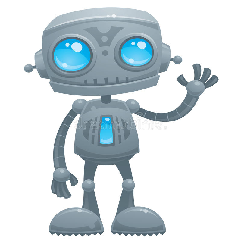 Waving Robot. Vector cartoon illustration of a cute and friendly robot with blue eyes waving hello