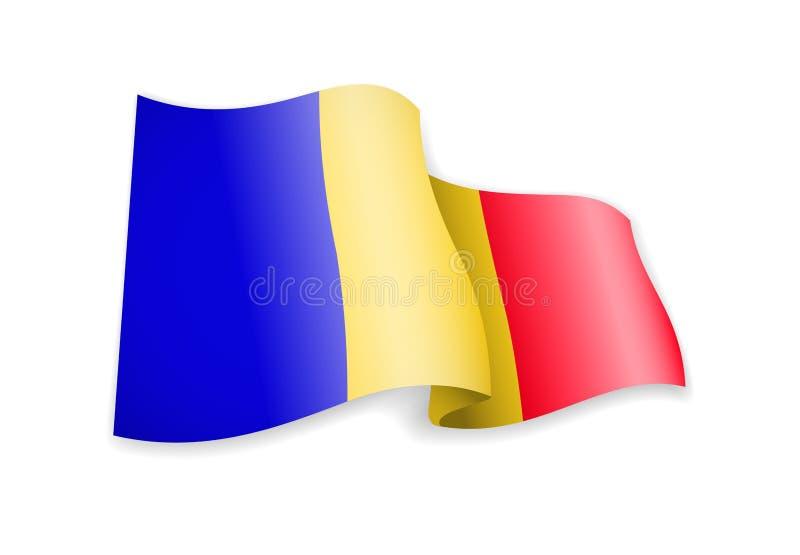 Waving Romania flag on white background. Vector illustration stock illustration