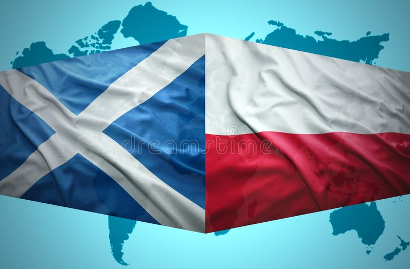 Waving Scottish and Polish flags. Of the political map of the world royalty free illustration