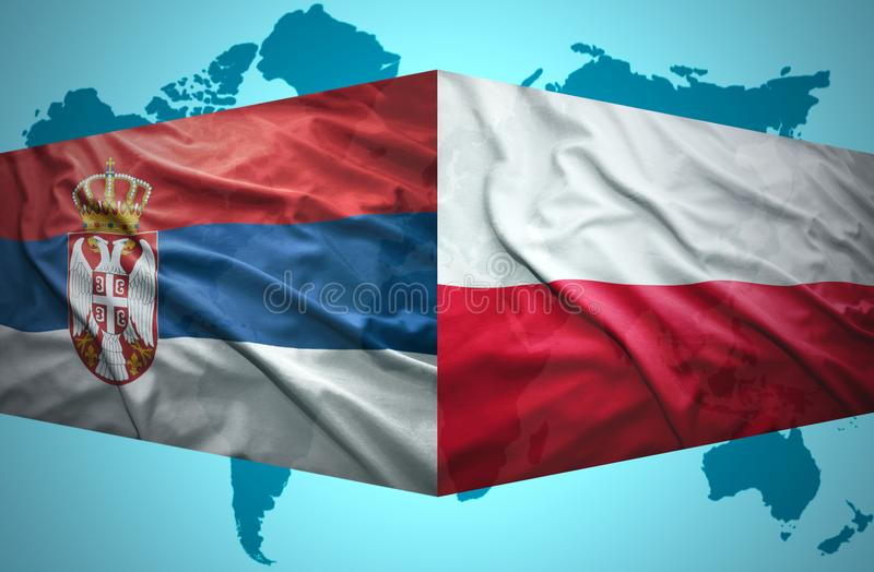 Waving Serbian and Polish flags. Of the political map of the world vector illustration