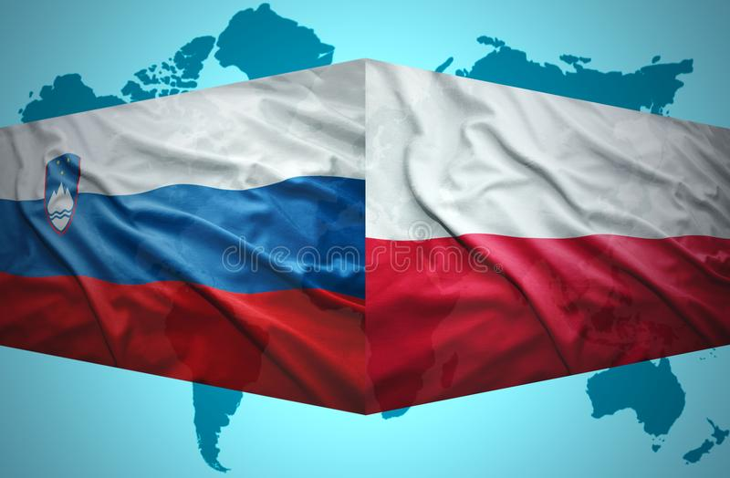 Waving Slovenian and Polish flags. Of the political map of the world stock illustration