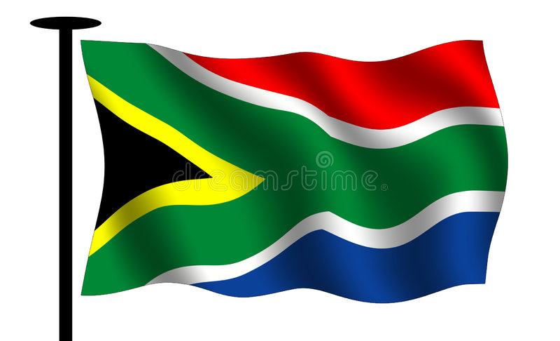 Waving south African flag vector illustration