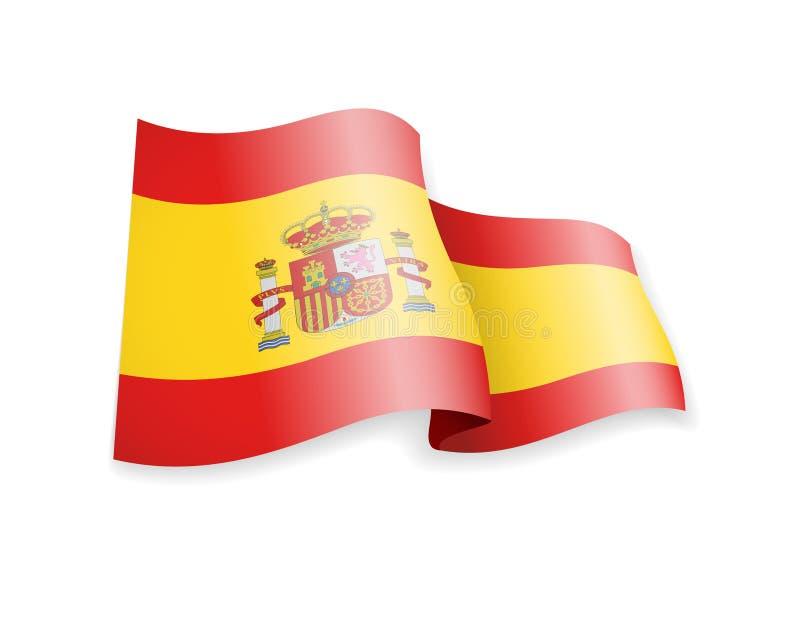 Waving Spain flag on white background. Vector illustration stock illustration