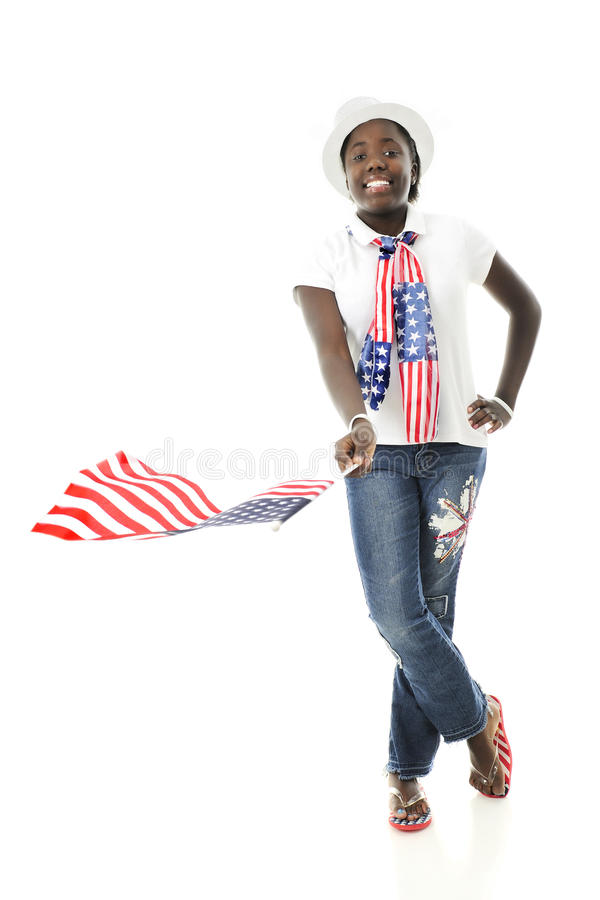 Waving the Stars and Stripes stock photography