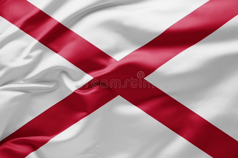 Waving state flag of Alabama - United States of America stock photo