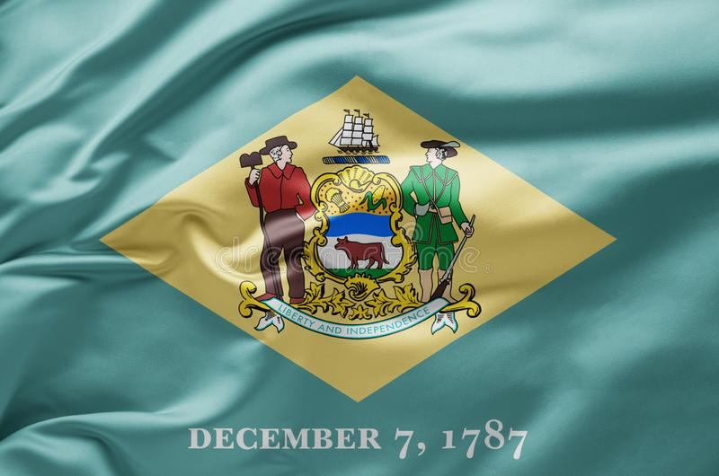 Waving state flag of Delaware - United States of America royalty free stock photo
