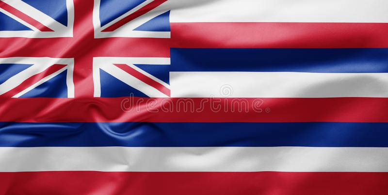 Waving state flag of Hawaii - United States of America royalty free stock images