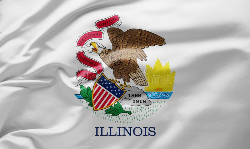 Waving state flag of Illinois - United States of America royalty free stock photography