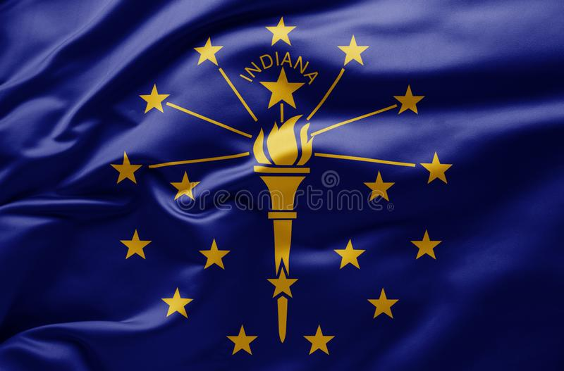 Waving state flag of Indiana - United States of America royalty free stock photography